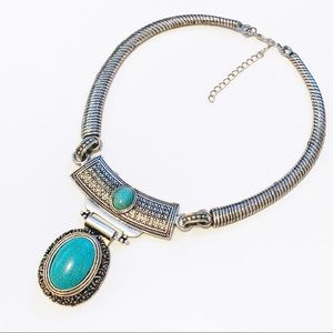 Southwestern Turquoise Silver Statement Necklace